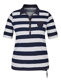 Shirt mit gestreiftem Muster und Polokragen mit Knöpfen