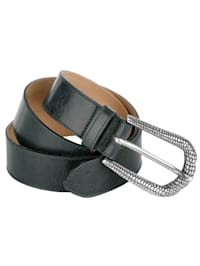 Leather belt with embossed buckle