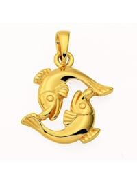 Damen & Herren Goldschmuck 585 Gold Sternzeichen Anhänger Fisch