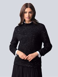 Pullover mit eingestrickten Pailletten