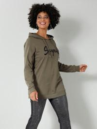 Sweatshirt met opschrift van imitatieleer