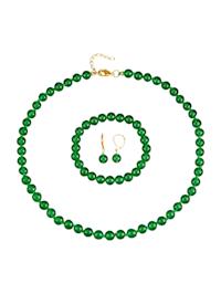 3tlg. Schmuck-Set aus Jade