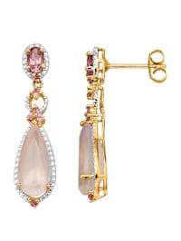 Boucles d'oreilles avec quartz de couleur rose et tourmalines