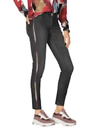 Jeans met glinsterende galonstreep
