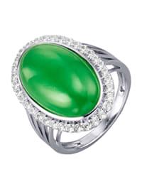 Damesring met jade-cabochon en zirkonen