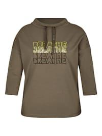 Sweatshirt in Uni-Design mit Stehkragen
