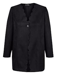Dlouhé sako z jemné imitace veluru