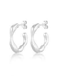 Ohrringe Creolen Ohrhänger Organische Struktur 925 Silber