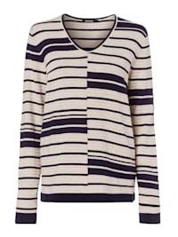 V-Ausschnitt-Pullover mit moderner Streifen-Struktur