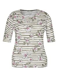 Shirt mit gestreiftem Muster und kurzen Ärmeln