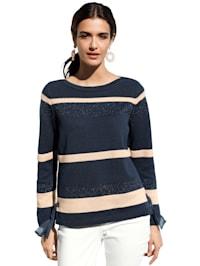 Pullover mit Streifen und Glanzgarn
