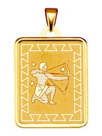 """Pendentif avec signe du zodiaque """"Sagittaire"""" en or jaune 375"""