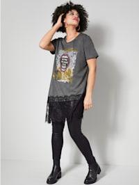 Longshirt mit elastischem Spitzendetail am Saum
