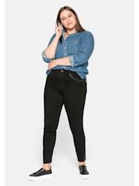 Jeans mit Kunstleder-Applikation