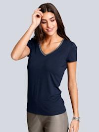 V-Shirt mit Strassapplikation