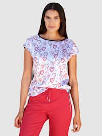 Tričko s potlačou srdiečok v saténovej kvalite