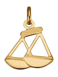 """Pendentif avec signe du zodiaque """"Balance"""" en or jaune 750"""