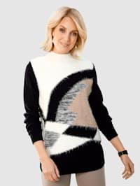 Pulovr s grafickým intarzním pleteným vzorem