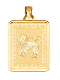 """Pendentif avec signe du zodiaque """"Lion"""" en or jaune 375"""