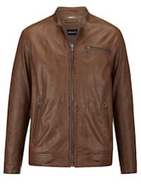 Kožená bunda s modernou perforáciou