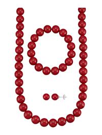 Halsband, armband & örhängen av röda snäckskalspärlor
