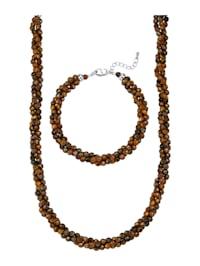 2-delige sieradenset van tijgeroogkralen