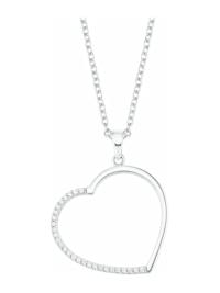 Ketten mit Anhänger für Damen, Sterling Silber 925, Zirkonia Herz