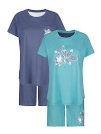 Krátke pyžamo, 2ks s kvetinovou potlačou