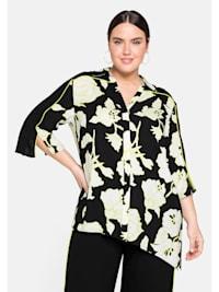 Bluse mit floralem Print und Schlitzen