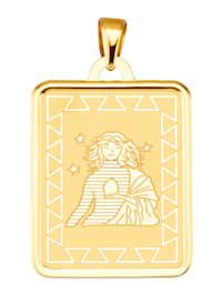 """Pendentif avec signe du zodiaque """"Vierge"""" en or jaune 375"""