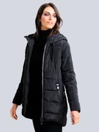 Prešívaná bunda so štýlovým výrazným zipsom