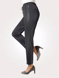 Pull-on trousers with stylish faux leather side panels