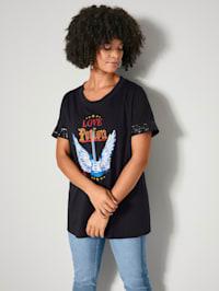 Shirt met pailletten aan de mouwzomen