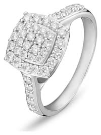 CHRIST Damen-Damenring 585er Weißgold 42 Diamant