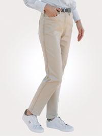 Kalhoty s galonovými pruhy s třásněmi