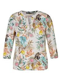 Bluse mit bunten und floralen Elementen