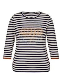 Pullover mit gestreiftem Allovermuster und Glitzerdruck