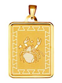 """Pendentif avec signe du zodiaque """"Cancer"""" en or jaune 375"""