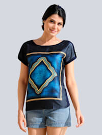 Shirt mit Satinvorderteil