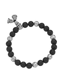 Armband Lavastein-Kugeln und tibetische Glücks-Symbole, Silber 925
