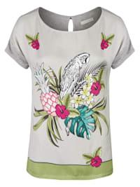 "Sommerliches T-Shirt mit Tropical-Print Modell ""Neila"" aus Viskose"