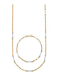 Parure de bijoux 2 pièces, finition dorée