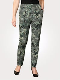 Trousers with a bold print