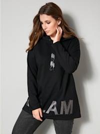 Sweatshirt met glitterprint en steentjes