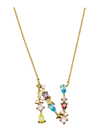 Collier Letter N met multicolor synth. zirkonia's