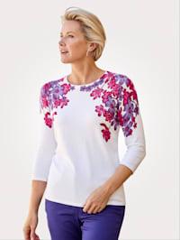 Pullover mit platziertem Blumendruck