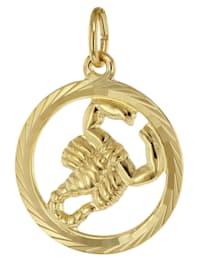 Sternzeichen Skorpion 333 Gold Anhänger Ø 16 mm