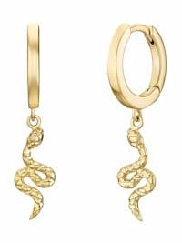Creolen für Damen, Sterling Silber 925 vergoldet, Schlange