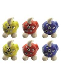 Sparschwein klein, 6 Stück 3 Farben