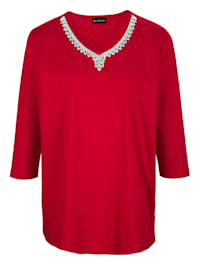 Shirt met fonkelende siersteentjes